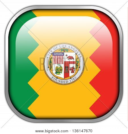 Flag Of Los Angeles, California, Square Glossy Button