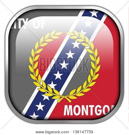 Flag Of Montgomery, Alabama, Square Glossy Button