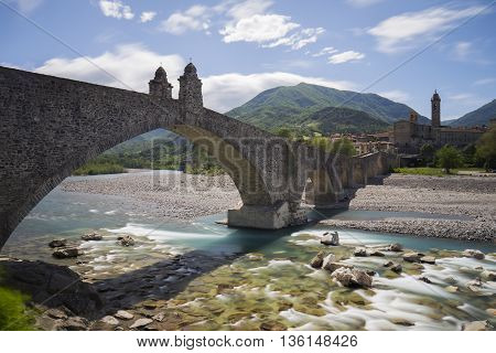 Ponte Gobbo in Bobbio city Italy (Long Exposure)