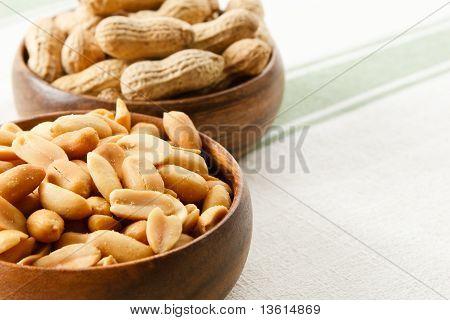 Peanuts In Wood Bowls