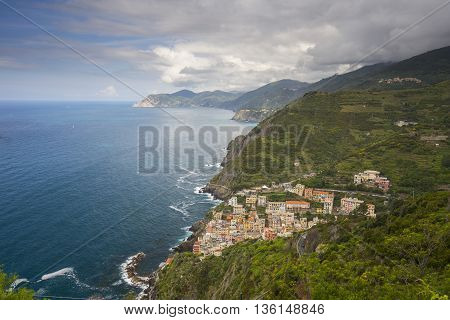 Riomaggiore (Cinque Terre) View of the City from the Road SP370 in Italy