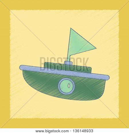flat shading style icon Kids toy boat