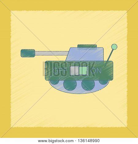 flat shading style icon Kids toy tank
