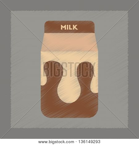 flat shading style icon coffee carton of milk