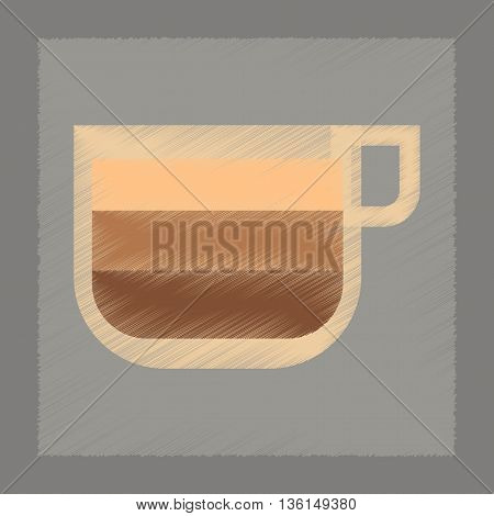 flat shading style icon coffee cup latte macchiato