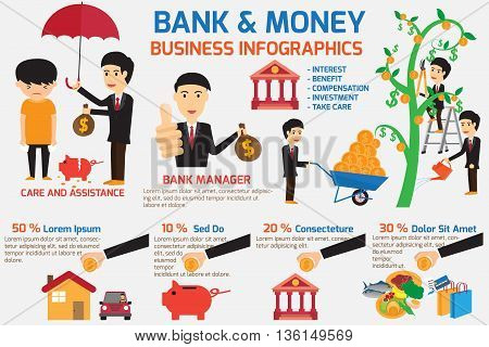 bank and money infographics element. bank take care and assistance your business. business concept vector illustration.