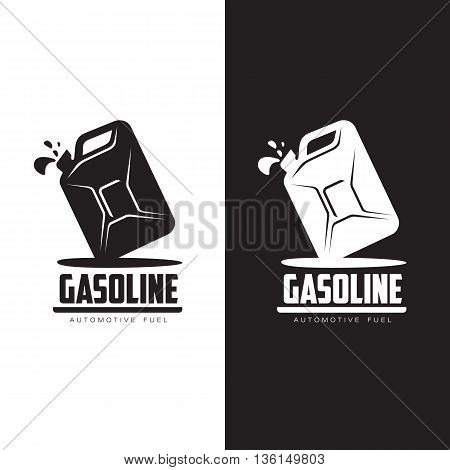 logo for gasoline canisters, vector flat is a simple illustration of isolated on white background, logo black canisters, petrol filling symbol for car logo petrol station, black and white canister set