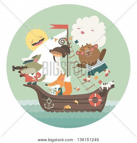Cute animals travelling by ship on sea. Vector illustration