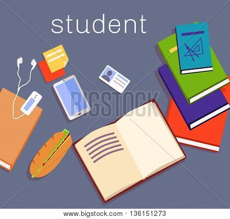 Education work space student design. Student education or work on table space device and notebook, design school desk with book note and smartphone, player and sandwich food. Vector illustration