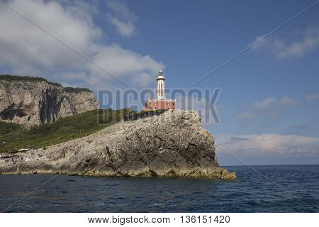 Punta Carena Lighthouse in Capri island, Italy