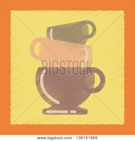 flat shading style icon coffee three cups