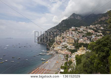 View from cliff to Positano in Italy