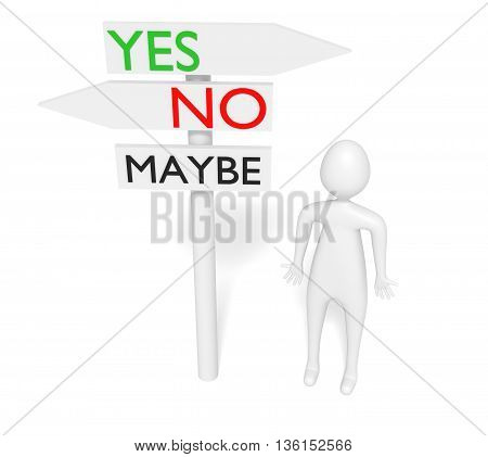 Yes or no: guidepost with 3d man 3d illustration