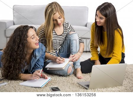 Happy teen girls studying at home with books and laptop