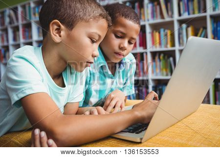 Little boys using a laptop in the library