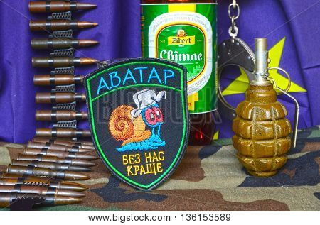 ILLUSTRATIVE EDITORIAL.Avatar.Unformal chevron of Ukrainian army for alcohol addictive soldiers.EU Flag as background..June 23,2016 in Kiev, Ukraine