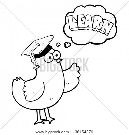 freehand drawn thought bubble cartoon bird with learn text