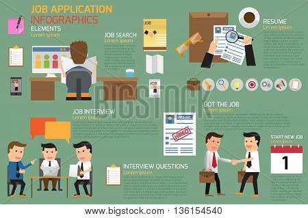 job application infographics element business concept vector illustration.