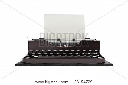 Retro Rusty Typewriter With Paper Sheet 3D Render Isolated On White Background