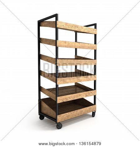 Shelves For Bread 3D Render On A White Background