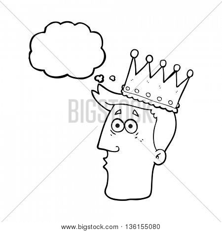 freehand drawn thought bubble cartoon kings head