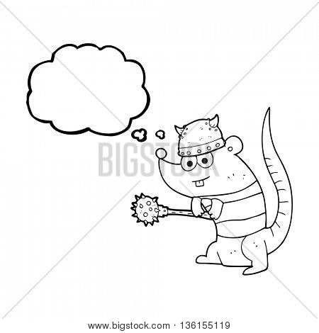 freehand drawn thought bubble cartoon rat warrior