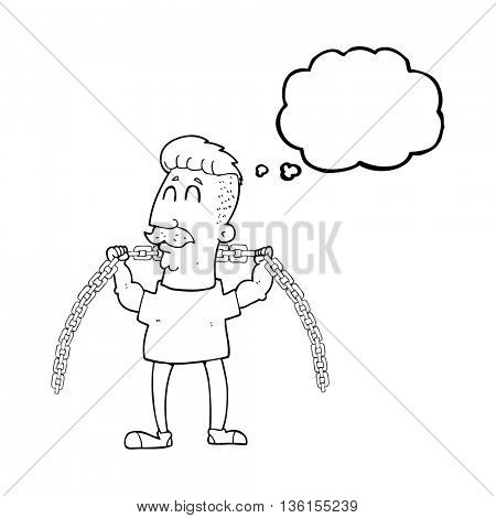 freehand drawn thought bubble cartoon man lifting chain