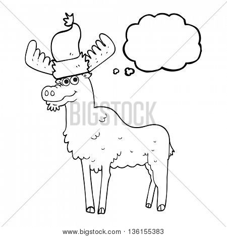freehand drawn thought bubble cartoon christmas moose