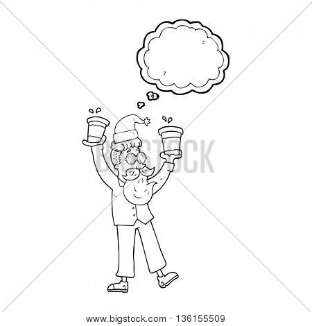 freehand drawn thought bubble cartoon man with coffee cups at christmas