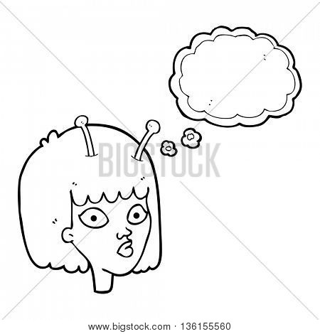 freehand drawn thought bubble cartoon female alien
