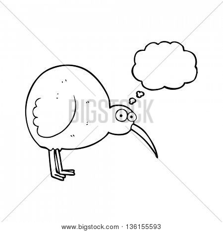 freehand drawn thought bubble cartoon kiwi bird