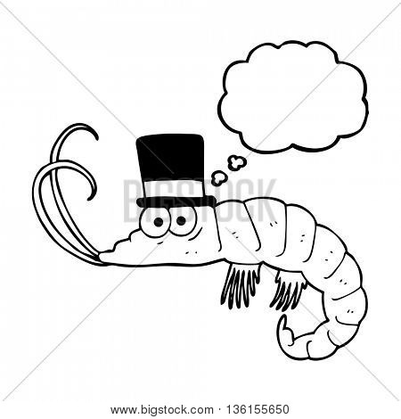 freehand drawn thought bubble cartoon shrimp