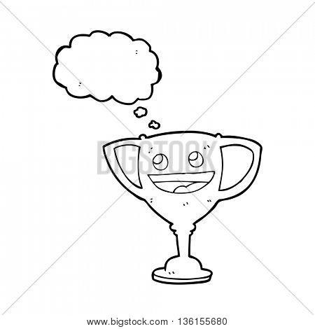 freehand drawn thought bubble cartoon sports trophy