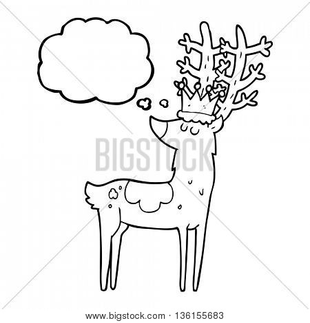 freehand drawn thought bubble cartoon stag king
