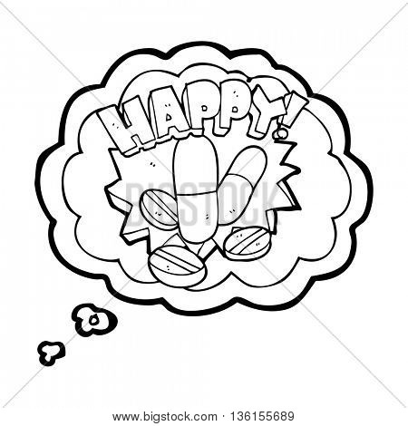 freehand drawn thought bubble cartoon happy pills