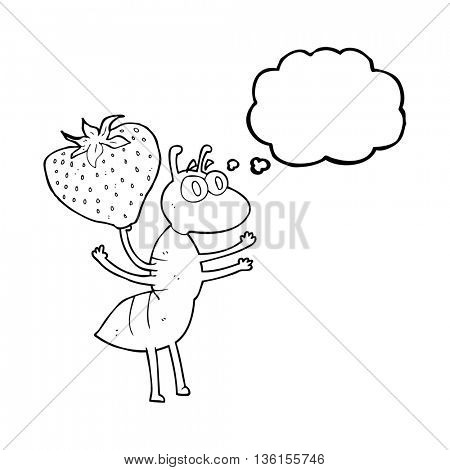 freehand drawn thought bubble cartoon ant carrying food