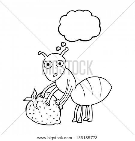 freehand drawn thought bubble cartoon ant with berry