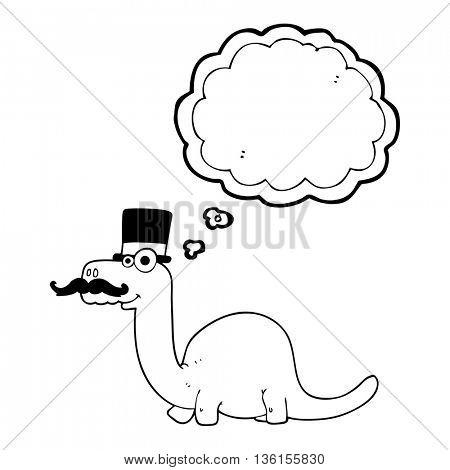 freehand drawn thought bubble cartoon posh dinosaur