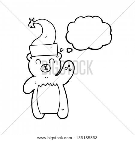 freehand drawing of a thought bubble cartoon teddy bear waving