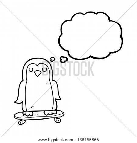 freehand drawn thought bubble cartoon bird on skateboard