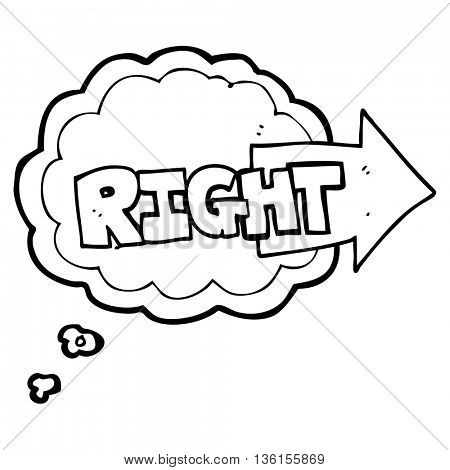 freehand drawn thought bubble cartoon right symbol pointing