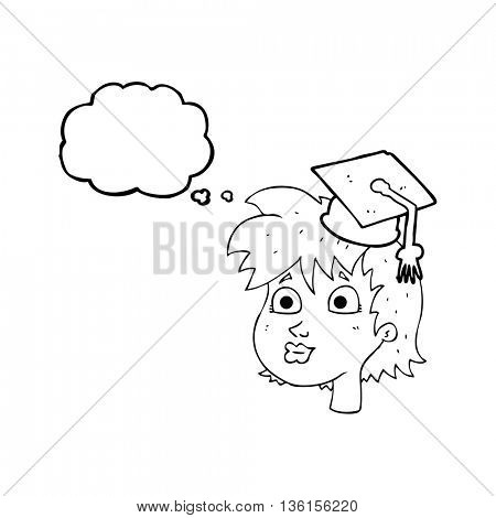 freehand drawn thought bubble cartoon woman wearing graduate cap