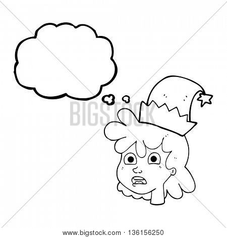 freehand drawn thought bubble cartoon stressed woman wearing santa hat