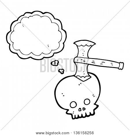 freehand drawn thought bubble cartoon axe in skull