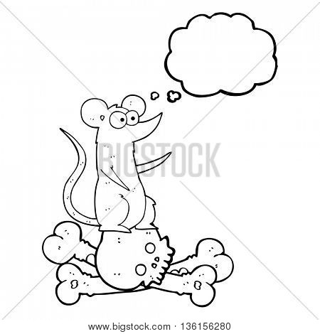 freehand drawn thought bubble cartoon rat on bones