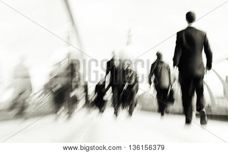 People Rushing in London City Life Concept
