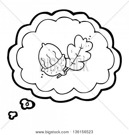 freehand drawn thought bubble cartoon acorn
