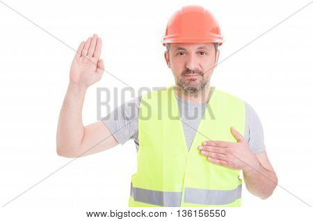 Constructor In Protection Clothes Making Swearing Gesture
