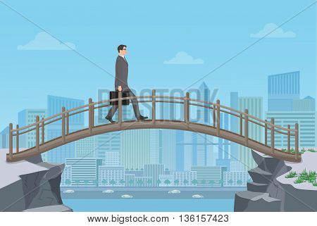 Businessman going on a bridge from mountain cliff on the modern city background
