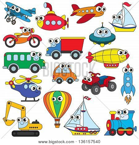 Funny transport set in vector, the colorful version.